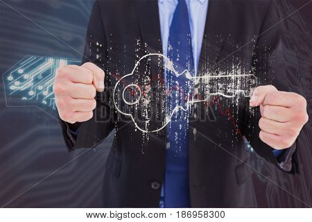 Digital composite of Digital composite image of businessman with key