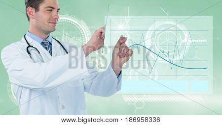 Digital composite of Digital composite image of doctor using transparent device