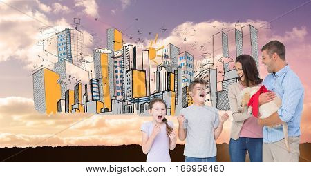 Digital composite of Parents gifting puppy to excited children with drawn city in background