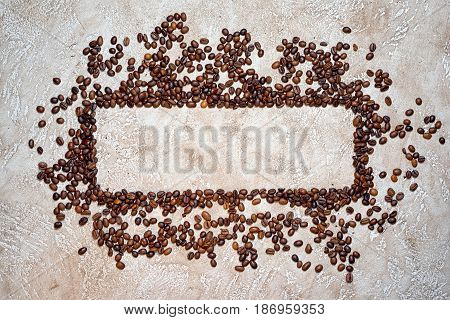 Rectangle frame of coffee beans with copy space for your text inside the nameplate