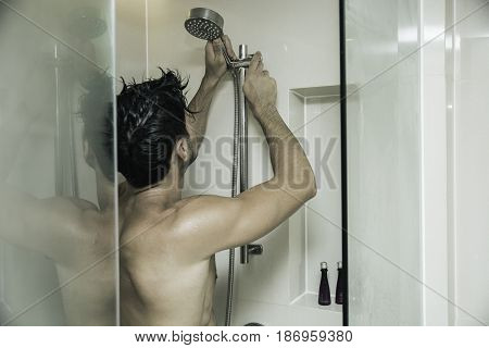 Close up Attractive Young Bare Muscular Man after Taking Shower