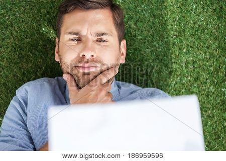 Top View Of Focused Businessman Analyzing Documents, Business Establishment  Concept
