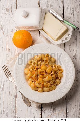 pasta with butter and grated orange peel