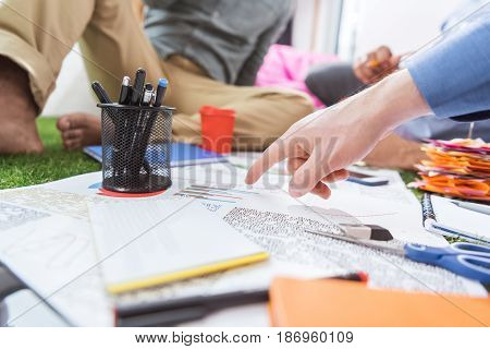 Partial View Of Business Team Working On New Business Plan, Business Teamwork