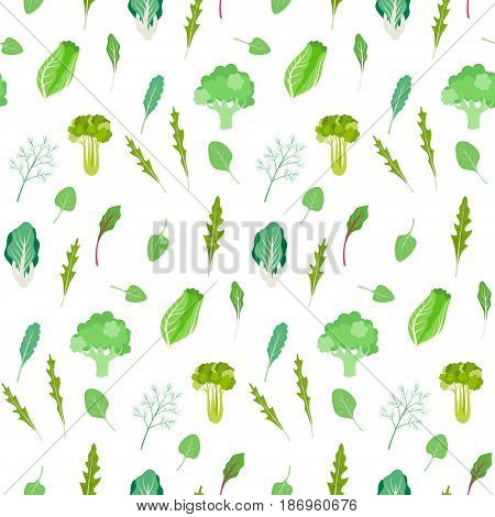 Seamless texture with food, isolated on white background. Salad greens and leafy vegetables pattern. Vegetarian fresh green.