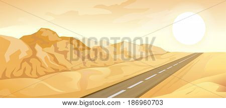 Desert landscape illustration with road and mountains. Vector nature horizontal background