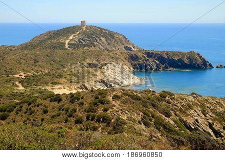 Aerial view on the Tower of Capo Malfatano in Teulada Sardinia Italy.