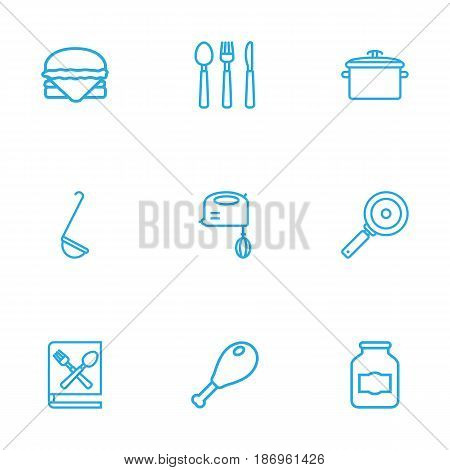 Set Of 9 Culinary Outline Icons Set.Collection Of Jug, Chicken Leg, Book Of Recipes And Other Elements.