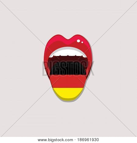 Learning languages concept. Learning German language. Open mouth with flag of Germany. Deutsch language tongue open mouth with flag of Germany. Vector illustration. EPS 10.