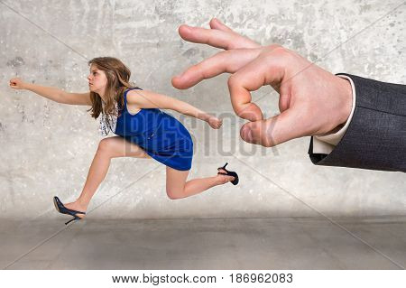 Small Businesswoman Running Away From A Boss Pressure