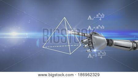 3d Digital composite of Digital composite image of robot hand touching math diagram