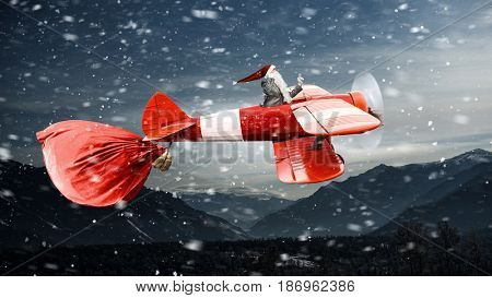 Santa hurrying up to deliver gifts. Mixed media