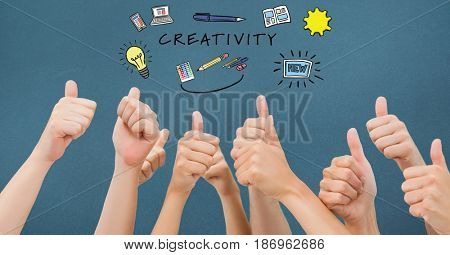 Digital composite of Creativity text with icons over hands gesturing thumbs up