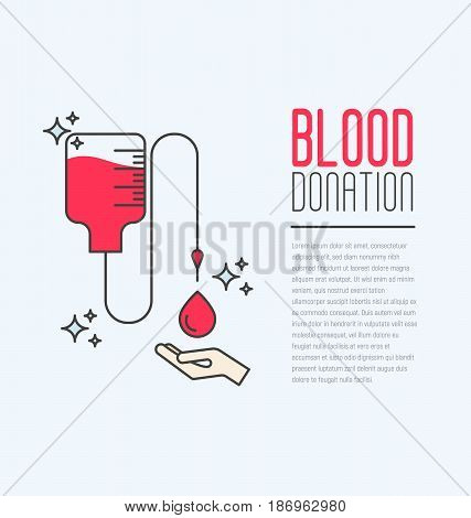 Donation blood concept with bag and drop falling in hand. World blood donor day. Thin line vector illustration.