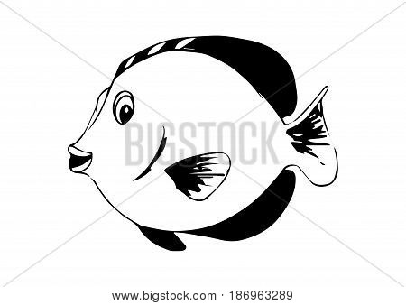 Zebrasoma - tropical marine fish. Vector coloring illustration
