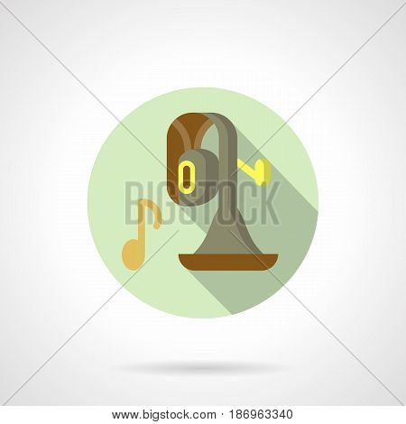 Symbol of tuba and note. Brass wind musical instrument for concerts, music festival and events. Round flat design vector icon.