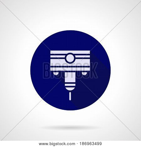 Abstract white silhouette symbol of high precision laser cutting. Industrial equipment for processing of metal and steel. Round flat design blue vector icon.