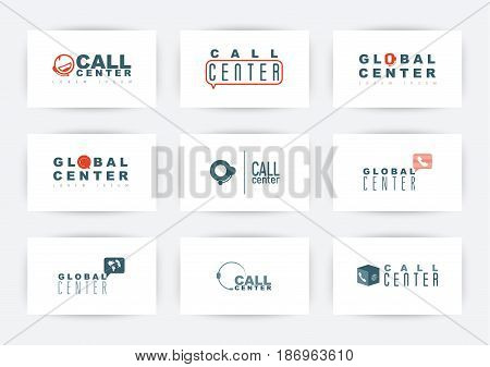 Call center, hotline or support service logo set. Vector illustration with symbols of phone.