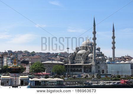 New Mosque (yeni Cami) From The Bosphorus River