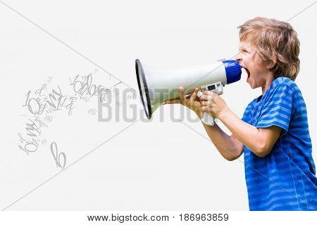 Digital composite of Little boy screaming in megaphone