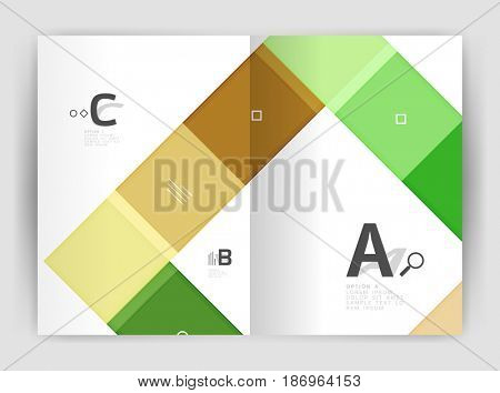 Set of front and back a4 size pages, business annual report design templates. Geometric square shapes backgrounds. illustration