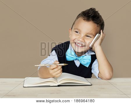A Caucasian Boy Calling Smiling Background Studio Portrait