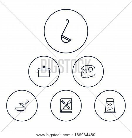 Set Of 6 Cooking Outline Icons Set.Collection Of Ladle, Grater, Omelette And Other Elements.