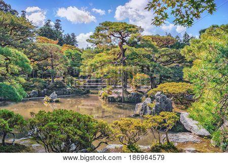 Beautiful Pond At Ginkakuji Silver Pavilion - Zen Temple Near Kyoto