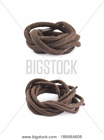 Single brown shoe lace string folded and isolated over the white background, set of two different foreshortenings