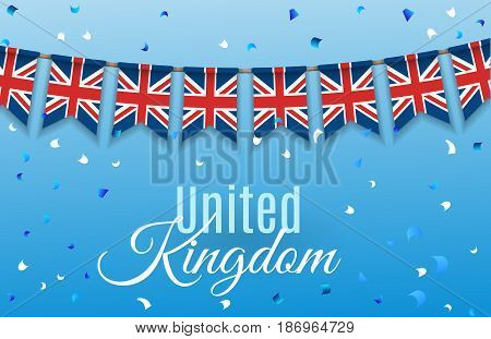 Colorful flag garlands of Great Britain, United Kingdom with confetti on blue background. Festive background for national, formal and informal holidays in the UK. Vector illustration. EPS 10