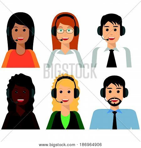 6 characters Call center agents flat avatars. Live chat operators guys and girls smiling faces. Online customer support service assistants with headphones.