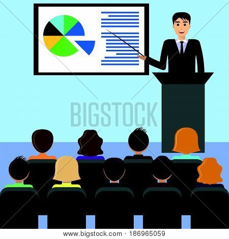 Businessman in a suit with a tie gives a lecture presentation leads the seminar behind the podium. Training staff meeting report business school. Illustration in flat style.