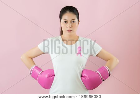 Asian Girl Wear Boxing Glove With Arms Akimbo