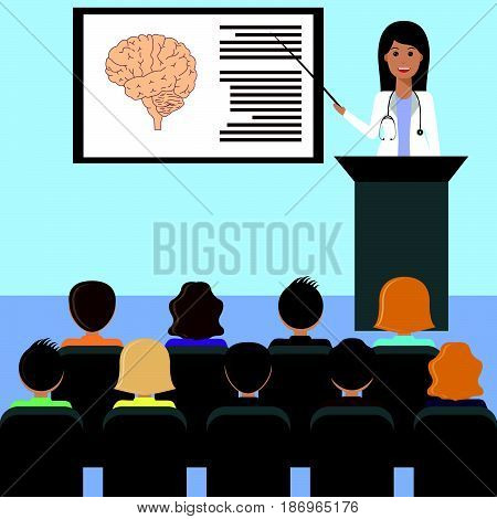 Female doctor giving medical lecture or presentation. Healthcare and medical design concept.