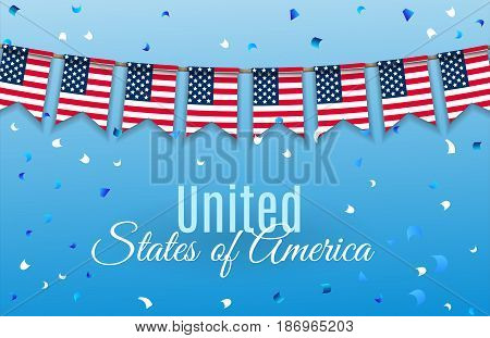Colorful chain, garland, bunting of USA flags decoration for July 4 Independence Day.  Patriotic Symbolic Decoration for Holiday in America with confetti isolated on blue background. Vector