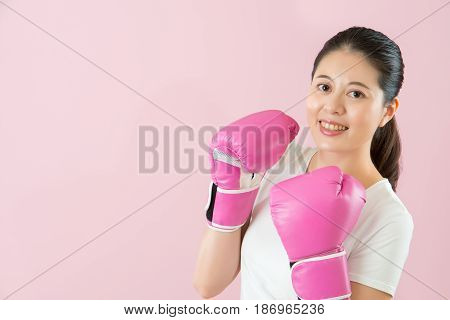 Asian Charming Girl Smile Wear Boxing Glove