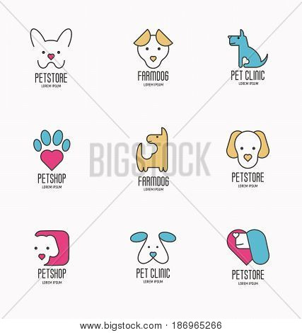 Set of colorful logotypes with dogs for vet clinic, pet shop, dog training or dog shelter. Vector illustration in modern flat line style.