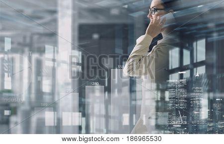 Businesswoman having talk