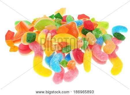 Tasty and colorful jelly candies on white background