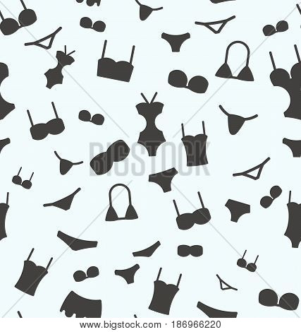 Seamless pattern with swimwear for background. Vector illustration.