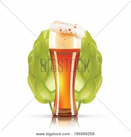 Hop plant and elegant glass of beer design 3d vector icon isolated on white background. Hops beer photo-realistic vector illustration