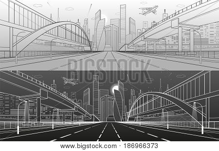 Pedestrian bridge across the highway. Road overpass. Infrastructure, modern city on background, industrial architecture. White and black lines illustration, urban scene, vector design art