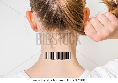 Young woman with barcode on her neck - genetic clone concept