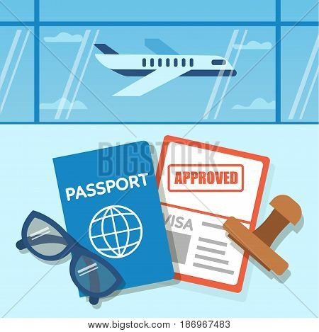 Approved Visa document with stamp. Vector concept illustration.