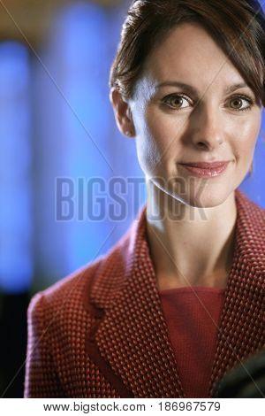 Smiling Caucasian businesswoman