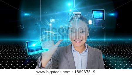 Digital composite of Smiling businesswoman touching virtual screen