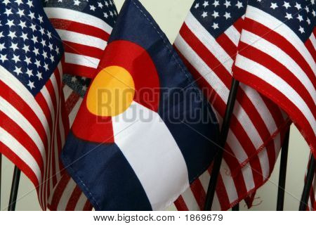 Colorado And American Flags