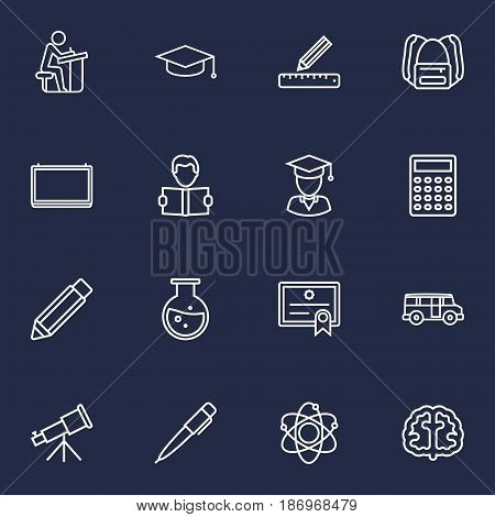 Set Of 16 Education Outline Icons Set.Collection Of Graduated, Bus, Pencil And Other Elements.