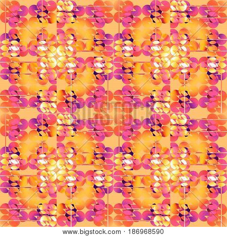 Abstract geometric seamless background. Regular circles pattern in yellow, orange, white, pink, violet and purple shades overlaying.