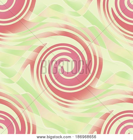 Abstract geometric seamless background. Regular spirals pattern pastel red, pink, beige and pastel green.